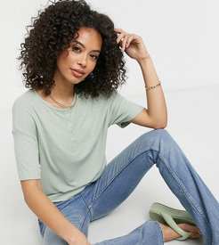 ASOS DESIGN Tall snap front boxy crop T-shirt in sage-Green