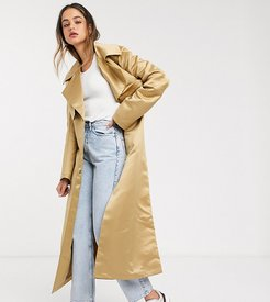 ASOS DESIGN Tall strong shoulder trench coat in stone-Neutral