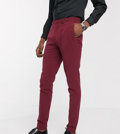 Tall super skinny suit pants in burgundy-Red