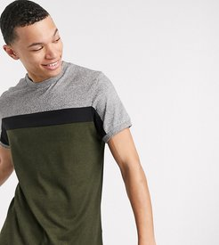 Tall t-shirt with contrast body panels in heavyweight twisted jersey-Green