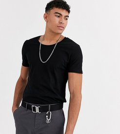 Tall t-shirt with scoop neck in black