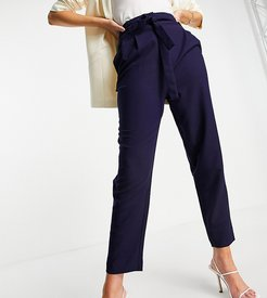 ASOS DESIGN Tall tailored tie waist tapered ankle grazer pants-Navy