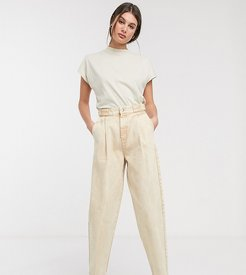 ASOS DESIGN Tall Tapered boyfriend jeans with D-ring waist detail with curved seams in washed lemon-Yellow