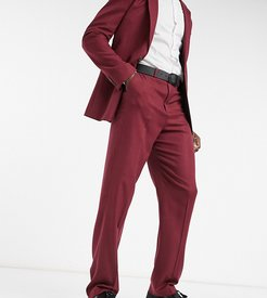 Tall wide leg suit pants in burgundy twill-Red