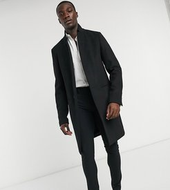 Tall wool mix overcoat with inverted lapel in black