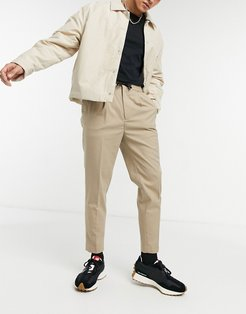 tapered smart jogger with half elasticized waist-Neutral