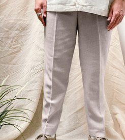 tapered wool mix pants in stone-Neutral