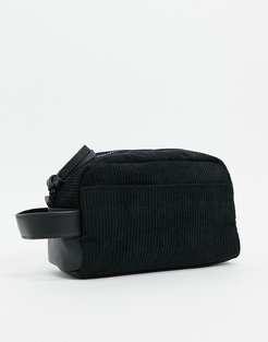 toiletry bag in black faux leather and cord