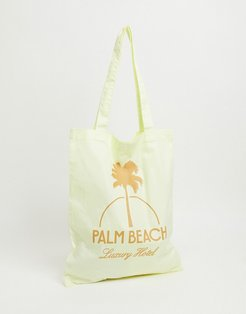 tote bag in lemon yellow with Palm Beach print