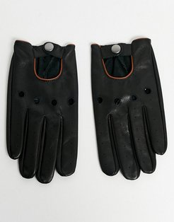 touchscreen driving gloves in black leather with tan piping