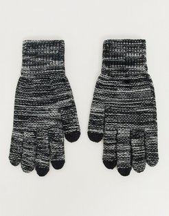 touchscreen gloves in black and white twist-Multi