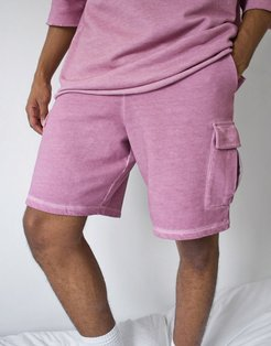 two-piece oversized cargo shorts in washed dusty purple