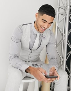 wedding skinny suit suit vest in brushed twill in ice gray