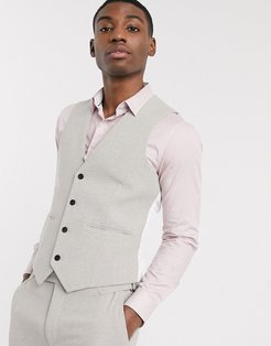 wedding skinny suit suit vest in putty wool blend twill-Neutral