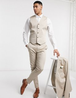 wedding super skinny cotton suit vest in stone-Neutral
