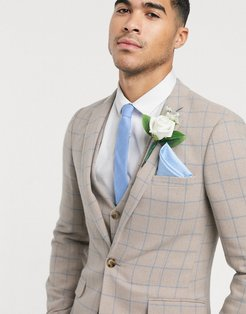 wedding super skinny suit jacket in wool mix with beige grid check-Neutral