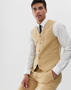 wedding super skinny suit vest in stone wool blend micro check-Neutral