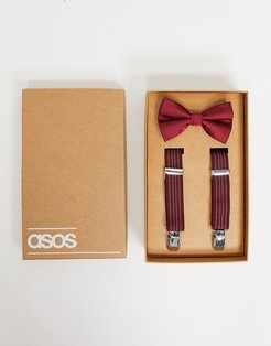 Wedding suspenders and bow tie set in burgundy with stripe-Red