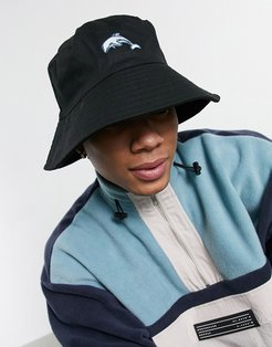 wide brim bucket hat in black with dolphin embroidery