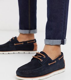 Wide Fit boat shoes in navy suede with white sole