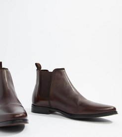 Wide Fit chelsea boots in brown leather with brown sole
