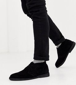 Wide Fit desert chukka boots in black suede