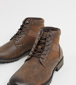 Wide Fit lace up boot in brown faux leather