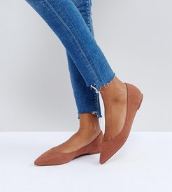 Wide Fit Latch pointed ballet flats-Brown