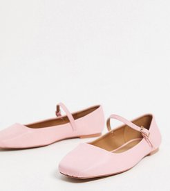 Wide Fit Late mary jane ballet flats in baby pink