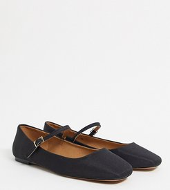 Wide Fit Late mary jane ballet flats in black