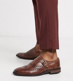 Wide Fit monk shoes in brown leather with brogue detail