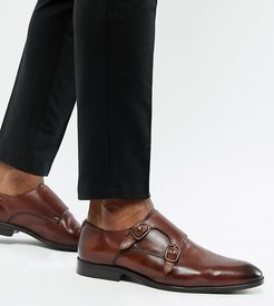 Wide Fit monk shoes in brown leather