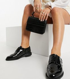 Wide Fit More flat lace up shoes in black
