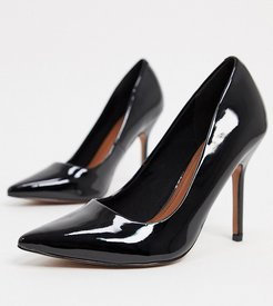 Wide Fit Phoenix pointed high heeled pumps in black