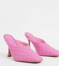 Wide Fit Popeye quilted high heeled mules in pink