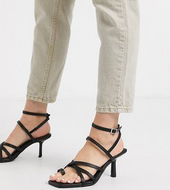 Wide Fit Whittle toe loop mid-heeled sandals in black