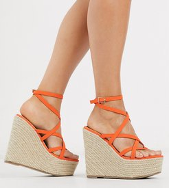 Wide Fit Work espadrille wedges in coral-Pink