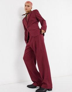 wide leg suit pants in burgundy twill-Green