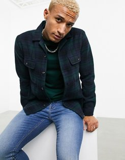 wool heavy overshirt in green check plaid with revere collar