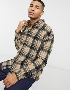 wool mix 90s oversized shirt in brown tartan check