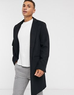 wool mix overcoat with inverted lapel in black