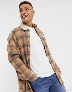 wool mix oversized dropped shoulder plaid shirts in lilac and orange