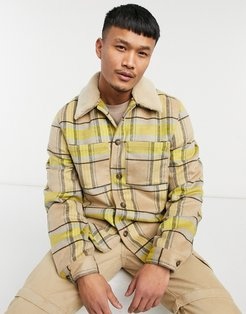 wool mix shacket with quilted lining in yellow and ecru check