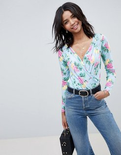 wrap front long sleeve body in blue floral print-Multi