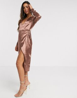 wrap midi dress in high shine satin in rose-Pink