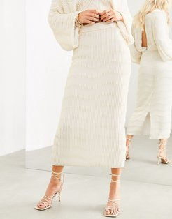 embellished pearl midi skirt two-piece-Cream