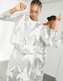 floral sequin split back top in silver and white