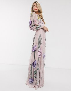 maxi dress with cut out back and oversized floral embroidery-Pink