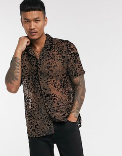 short sleeve co-ord leopard burnout shirt-Brown