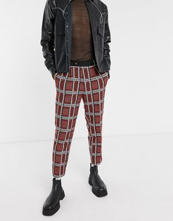 tapered suit pants with check jacquard